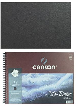Picture of Canson Mi-Teintes Pastel Pad Black Sheets 50% Cotton 16 Sheets