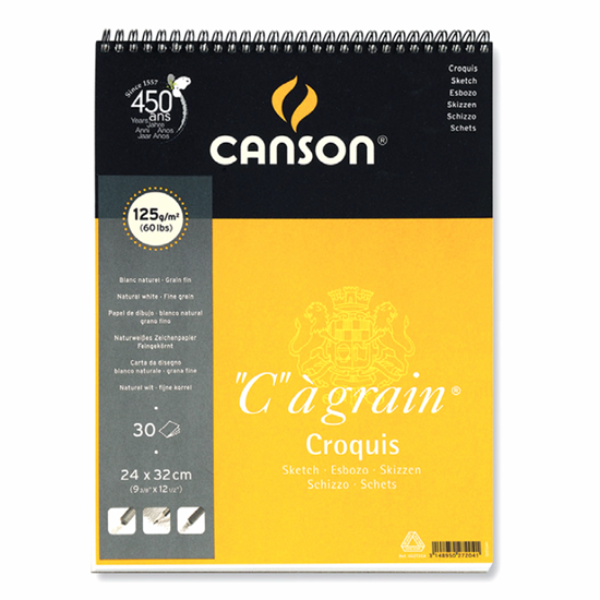 """Picture of Canson """"C""""agrain Croquis Sketch Pad (Fine grain) Sping Edge 125g"""