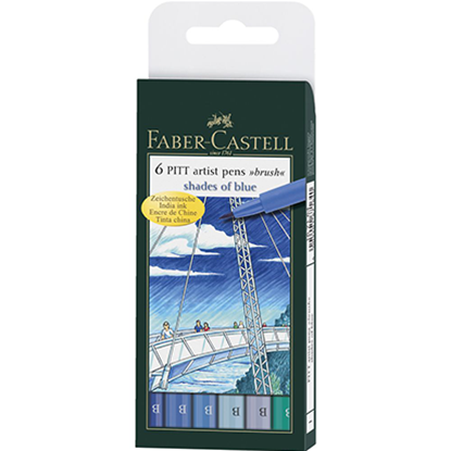 Picture of Faber Castell 6 PITT Artist pens shades of blue