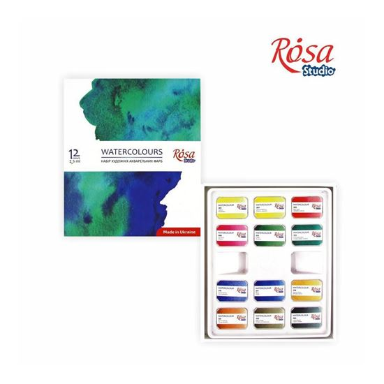 Rosa Watercolor Set , 12 colors, Cubes, cardboard.